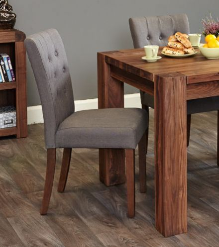 Walnut Flare Back Upholstered Dining Chair - Slate (Pack of Two)